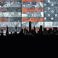New York Skyline Usa Flag 5 by Bekim Art