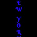 New York - Vertical Blue On Black Background by LogCabinCottage
