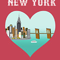 New York Vertical Skyline - Heart by Karen Young
