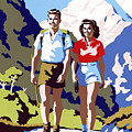 New Zealand Vintage Travel Poster Restored by Vintage Treasure