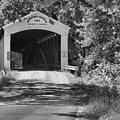 Newport Covered Bridge Landscape Black And White by Adam Jewell
