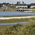 Newport Estuary And Nearby Businesses by Linda Brody