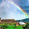 Niagara Falls And Welcome Centre With Rainbow by Charline Xia