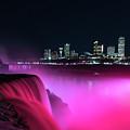 Niagara Falls At Night - Pink by Framing Places