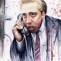 Nicolas Cage A Vampire's Kiss Watercolor Art by Olga Shvartsur