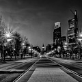 Night Falls On The City - Philadelphia - Black And White by Bill Cannon