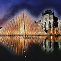 Night Glow Of The Louvre Museum In Paris by Elaine Plesser