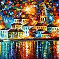 Night Harbor by Leonid Afremov