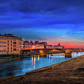 Night In Florence Italy by Evgeni Nedelchev