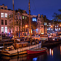 Night Lights On The Amsterdam Canals 7. Holland by Jenny Rainbow