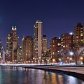 Night Lights On The Lakefront by Frozen in Time Fine Art Photography