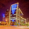 Night Photograph Of Downtown Dallas Skyline - Hunt Oil Building Dallas Texas by Silvio Ligutti
