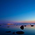 Night Reflections Sea Scape After Sunset by Sandra Rugina