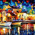 Night Riverfront - Palette Knife Oil Painting On Canvas By Leonid Afremov by Leonid Afremov