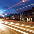 Night Rush In Bryggen Harbor In Bergen by Didier Marti