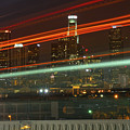 Night Shot Of Downtown Los Angeles Skyline From 6th St. Bridge by Hold Still Photography