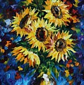 Night Sunflowers by Leonid Afremov
