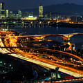 Night Traffic Over Han River In Seoul by Aaron Choi