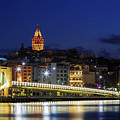 Night View Of Galata Bridge And Galata Tower. by Mohamed Elkhamisy