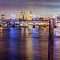Night View Of Hungerford Bridge And Golden Jubilee Bridges London by Jacek Wojnarowski