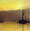 Nightfall In Scarborough Harbour by John Atkinson Grimshaw