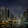 Nighttime Chicago River And Skyline View by Sven Brogren