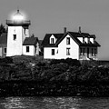 Nighttime Lighthouse In Maine In Black And White by Kay Brewer