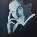 Nikola Tesla - Blue Portrait by Darko Topalski