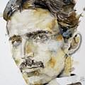 Nikola Tesla - Watercolor Portrait.6 by Fabrizio Cassetta