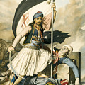 Nikolakis Mitropoulos Raises The Flag With The Cross At Salona On Easter Day 1821 by Louis Dupre