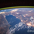 Nile River At Night From Iss by Science Source