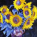 Nine Sunflowers With Black Background by Vitali Komarov