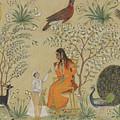 Noble Woman In A Garden by Mughal School