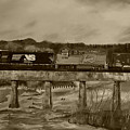 Norfolk Train - Chattahoochee River - Sepia by Jan Dappen