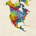 North America Continent Watercolor Map by Michael Tompsett