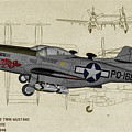 North American F-82b Twin Mustang - Profile Art by Tommy Anderson