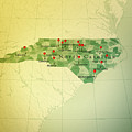 North Carolina Map Square Cities Straight Pin Vintage by Frank Ramspott