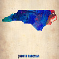 North Carolina Watercolor Map by Naxart Studio