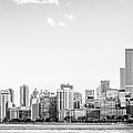 North Chicago Skyline Panorama In Black And White by Paul Velgos