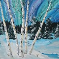 Northern Lights  And White Birch Trees by Beverly Livingstone