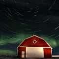 Northern Lights Canada Barn by Mark Duffy