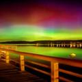 Northern Lights Over Okanagan Lake Canada by Rod Jellison