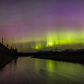 Northern Lights Over The North Fork Of The Flathead River by Heavens Peak