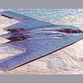 Northrop Grumman B-2 Spirit Stealth Bomber Enhanced With Double Border II by L Brown