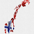 Norway Typographic Map Flag by Inspirowl Design