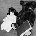 Nostalgic Doll And Bear With Reading Book by Peggy Leyva Conley