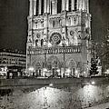 Notre Dame Night Bw by Joan Carroll