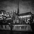 Notre Dame On The Seine Bw by Joan Carroll