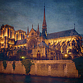 Notre Dame On The Seine Textured by Joan Carroll