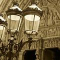 Notre Dame Street Lights Paris France Sepia by Toby McGuire